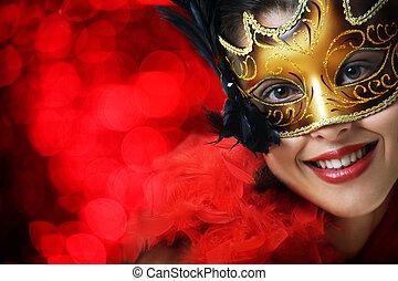gyönyörű woman, maszk, fiatal, farsang