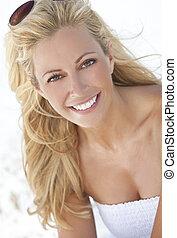 gyönyörű woman, napszemüveg, ruha, szőke, white tengerpart