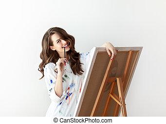 gyönyörű woman, neki, művész, feltevő, artwork, műterem, boldog