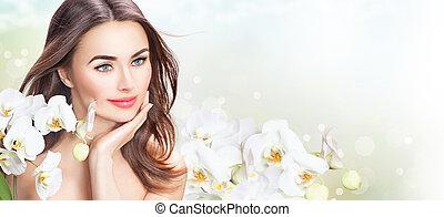 gyönyörű woman, neki, szépség, arc, flowers., megható, ásványvízforrás, leány, orhidea