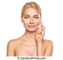 gyönyörű woman, neki, szépség, arc, megható, portrait., ásványvízforrás, leány