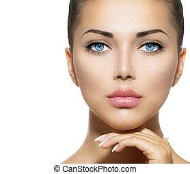 gyönyörű woman, neki, szépség, arc, megható, portrait., ásványvízforrás