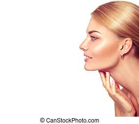 gyönyörű woman, neki, szépség, arc, megható, portrait., ásványvízforrás, szőke