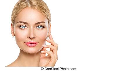 gyönyörű woman, neki, szépség, face., arc, megható, ásványvízforrás, formál, leány