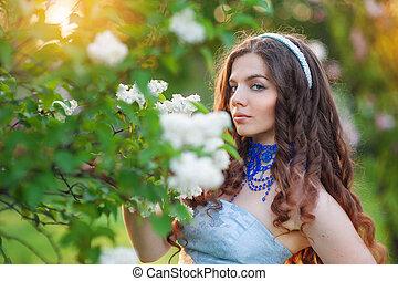 gyönyörű woman, orgona, eredet, liget, fiatal