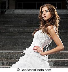 gyönyörű woman, ruha, fiatal, esküvő