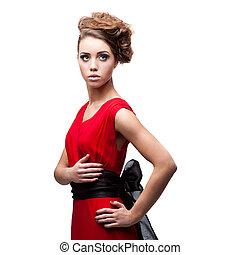 gyönyörű woman, ruha, fiatal, piros