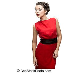 gyönyörű woman, ruha, piros