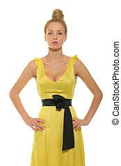 gyönyörű woman, ruha, sárga
