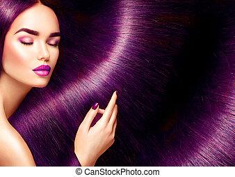 gyönyörű woman, szépség, egyenes, hosszú szőr, barna nő, háttér, hair., piros