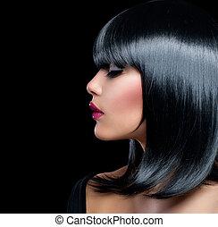 gyönyörű woman, szépség, haj, girl., rövid, barna nő, fekete