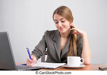gyönyörű woman, tervezés, munka