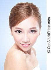 gyönyörű woman, young felnőtt, arc