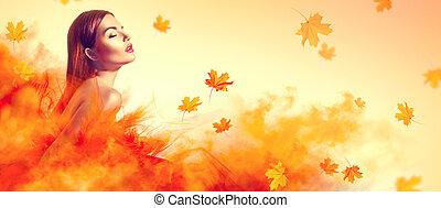 gyönyörű woman, zöld, sárga, ősz, mód, feltevő, műterem, esés, ruha