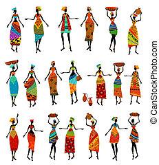 gyönyörű women, állhatatos, elszigetelt, afrikai