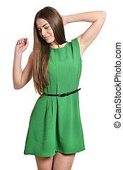 gyönyörű, zöld, nő, ruha