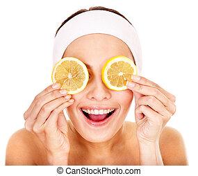 gyümölcs, arcápolás, házi készítésű, természetes, maszk