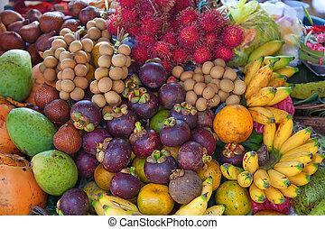 gyümölcs, nyílik, piac, levegő