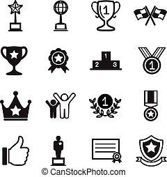 győz, állhatatos, siker, ikonok