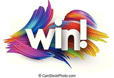 győz, strokes., dolgozat, színes, ecset, poszter