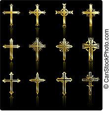 gyűjtés, arany-, tervezés, kereszt, vallásos