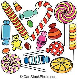 gyűjtés, candy., karikatúra, ábra, körvonal