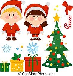 gyűjtés, gifts., gyerekek, karácsony, vektor, ábra, klaus, öltözött, szent, fa, jelmezbe öltöztet