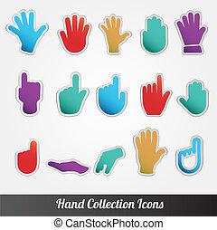 gyűjtés, ikon, vektor, emberi kezezés