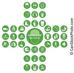 gyűjtés, kereszt alakú, egészség, ikon, zöld, biztonság