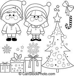 gyűjtés, oldal, színezés, white christmas, costumes., gyerekek, szent, fekete, klaus, vektor