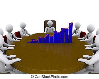 gyűlés, értékesítések, közé, businessmen