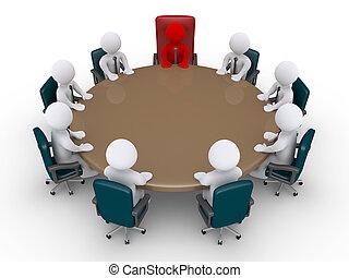 gyűlés, businessmen, főnök