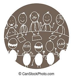 gyűlés, csapatmunka, ügy