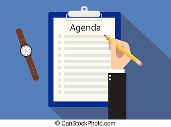 gyűlés, csipeszes írótábla, lista, napirend