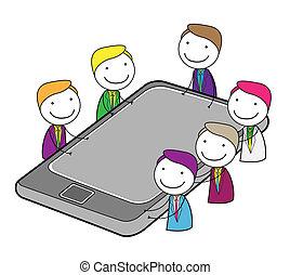 gyűlés, csoport, online