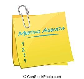 gyűlés, memorandum, tervezés, napirend, ábra