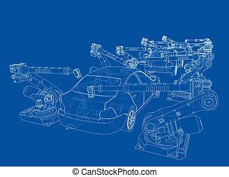 gyűlés, vehicle., motor, vektor