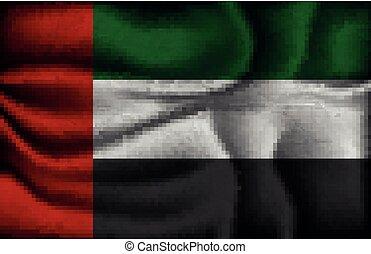 gyűrött, egyesült, fény, arab, lobogó, emirátusok, háttér