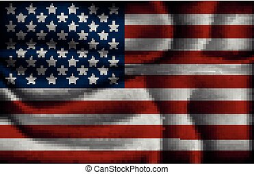 gyűrött, egyesült, fény, egyesült államok, lobogó, háttér, amerika