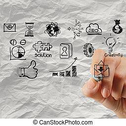gyűrött, fogalom, ügy stratégia, dolgozat, háttér, rajz, kéz, kreatív