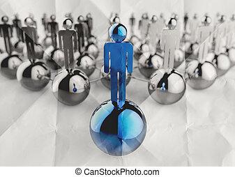 gyűrött, fogalom, hálózat, rozsdamentes, emberi, dolgozat, vezetés, társadalmi, 3