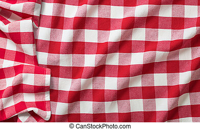 gyűrött, tarka, piknik, abrosz, piros