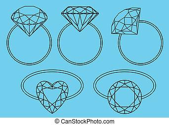 gyűrű, gyémánt, vektor, állhatatos