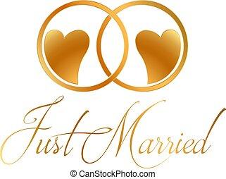 gyűrű, vektor, tervezés, igazságos házas