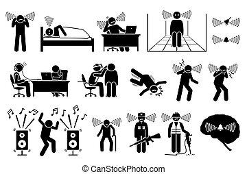 gyűrűzés, emberek, icons., zaj, tinnitus, fül