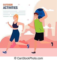 gyakorlás, párosít, outdoor pihenés, elfoglaltságok, gyakorlás, transzparens, sport, fiatal