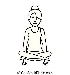 gyakorló, nő, yoga helyzet