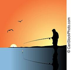 gyakorlatias, tó, ábra, halászat