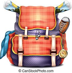 gyakorlatias, utazás, vektor, hátizsák