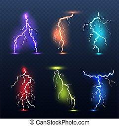gyakorlatias, vektor, színezett, izzó, jelkép, bolt., illedelmes, veszély, állhatatos, villanyáram, fény, lámpa, elektromos